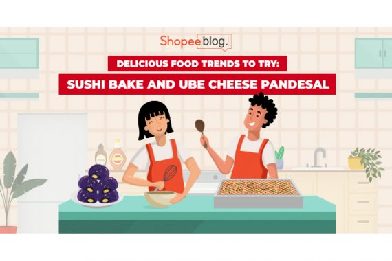 sushi bake and ube cheese pandesal