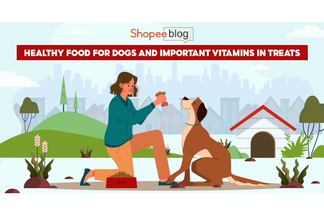 healthy food for dogs and vitamins in treats
