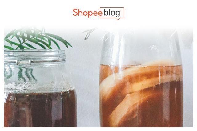 two jars of kombucha tea