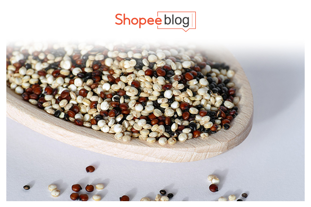 a bowl of raw quinoa
