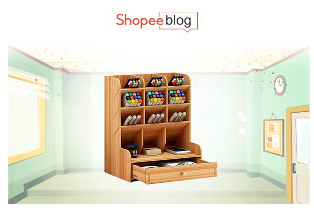 wooden office desk organizer
